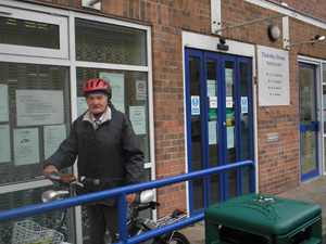 Leslie Graham, aged 82 comes to the surgery on his bike!