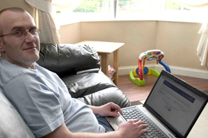 Graeme Roper accesing his GP electronic health records from home or when he is away and needs access to his records wherever he may be