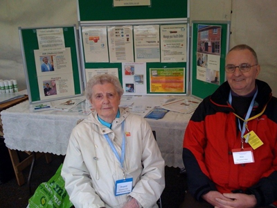 Margaret Rickson and Alan Yates at a health fair promoting GP electronic health record access and the Haughton Thornley Medical Centres way!