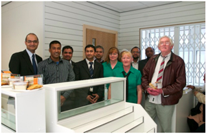 Donald Hunter, chair of the Haughton Thonrley Medical Centres with patients and staff on the opening of a new pharmacy next door to Thornley House Medical Centre