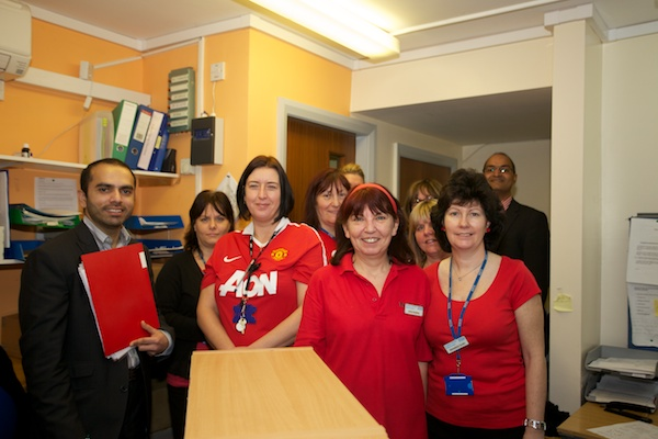 Haughton Vale staff on Wear Red Day