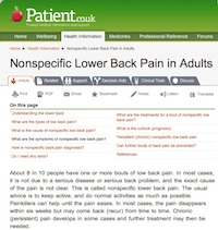 Patient.co.uk: Non-specific low back pain