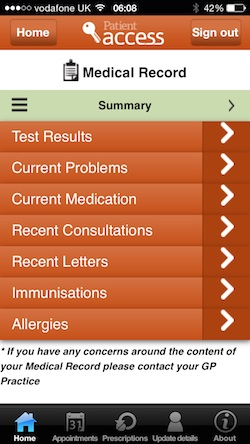 Medical Record Viewer on iPhone